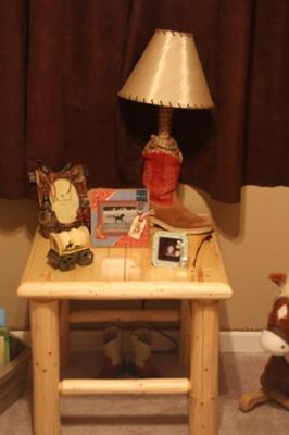 NIGHTSTAND AND HOMEADE WESTERN LAMP THAT WE MADE FROM AN OLD BOOT
