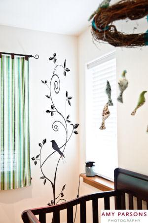Bird themed vinyl nursery wall decals