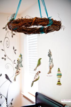 Handmade fabric bird baby crib mobile for a baby boy bird themed nursery room