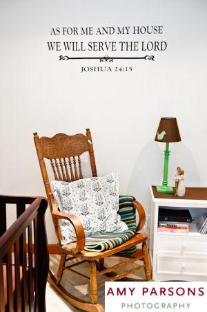 Joshua 24:15 Bible quote vinyl baby nursery wall decal