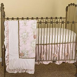 pink and brown toile angel baby crib bedding set