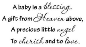 A baby is a blessing angel nursery wall saying quotation stickers and decals