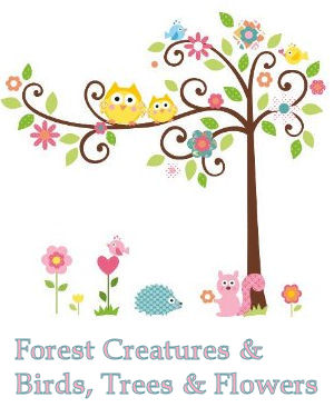Forest animals, owls and flowers and tree baby nursery wall decals and stickers