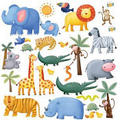 Animal wall decals for a baby animal theme nursery room