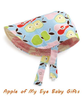 Baby girl bonnet in bright green and red apple print fabric