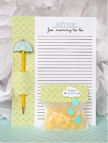 April showers baby shower theme umbrella cut out shapes to decorate a pencil for games