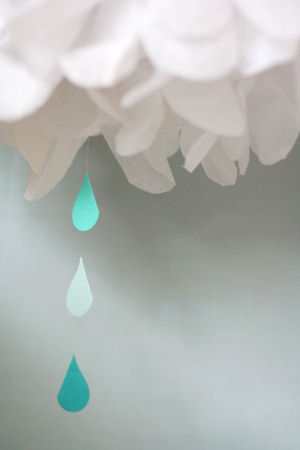 April showers rain cloud homemade tissue paper mobile raindrop cutouts