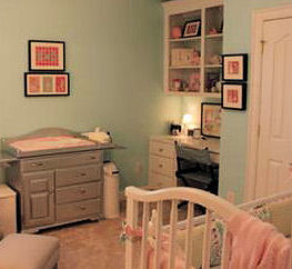 Aqua blue and pink baby girl nursery room with lots of inexpensive DIY decorating ideas