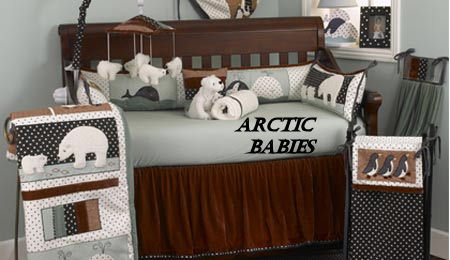penguin crib baby nursery polar bear eskimo igloo polka dots bedding