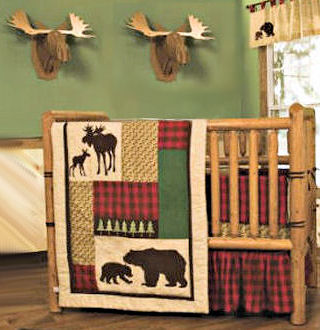A rustic nursery decorated in log cabin style with moose bear  warm autumn colors and a homemade wooden baby crib