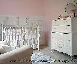 Vintage dresser refinished for a baby girl nursery