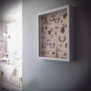 A French themed shadowbox in pink and chocolate brown for a baby girl nursery