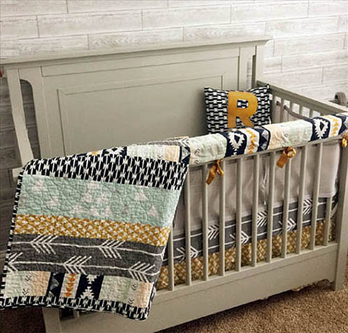Rustic Southwest Aztec arrow baby bedding for a baby boy or girl