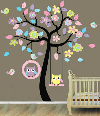 Ideas for a baby bird nursery wall design with tree and owls