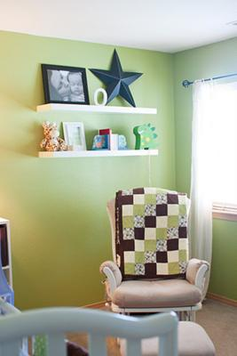 Baby Oliver's Blue, Green and Brown Dinosaur Themed Nursery with Polka Dots and homemade decorations.
