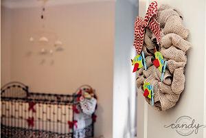 Airplane nursery door wreath made using burlap for a baby boy