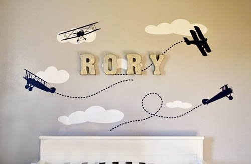 Baby boy airplane nursery room wall decorating ideas.  DIY decor.  DIY metal wall letters name initial monogram