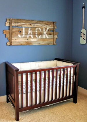 Nautical baby nursery ideas for a baby boy with rustic decor