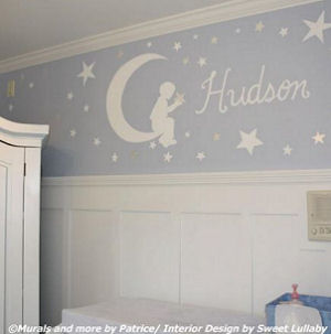 Blue white and silver nursery wall mural in a Goodnight Moon and stars baby boy nursery