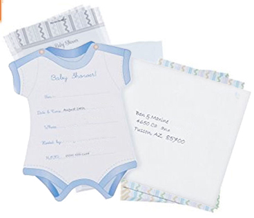 Powder blue printable personalized baby boy onesie baby shower invitation and envelope
