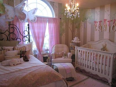 Elegant pink and green butterfly nursery decor ideas for a baby girl