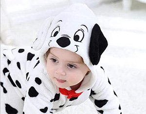 Homemade DIY infant baby dalmation puppy dog halloween costume cruella deville mom and baby