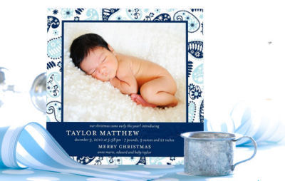 baby boy first 1st christmas holiday baby shower invitation birth announcement personalized blue white and