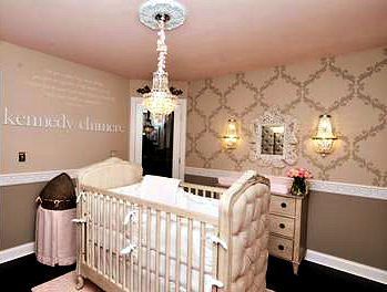 Pink and Grey Rococo Nursery Decorated for a Baby Girl in a Princess Room Theme