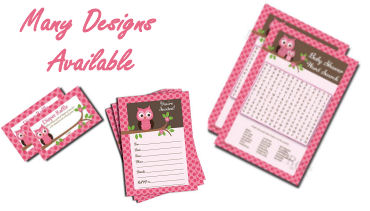 Pink girl baby shower game cards advice cards and invitations templates