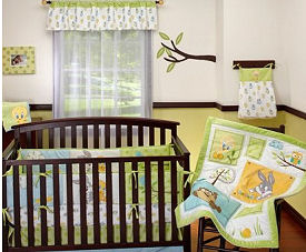 Baby Looney Tunes crib bedding set in a nature nursery theme featuring the most popular cartoon characters