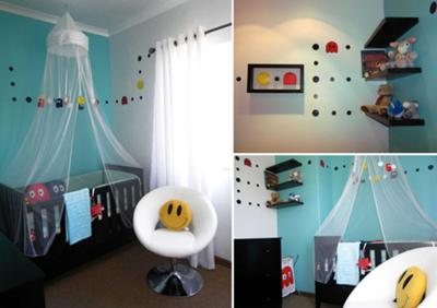 We made most of the decorations and bedding for our Baby Pacman nursery theme ourselves.