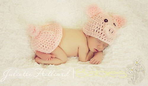 Crochet baby pig costume photo prop with hat and diaper cover pattern