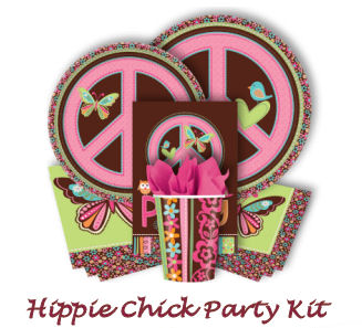 Pink,  Lime Green Brown and Aqua Blue Hippie Chick Birthday Party and Baby Shower Supplies, Tableware and Party Favors with Colorful Butterflies, Peace Signs, Baby Owl and Bird Theme Decorations