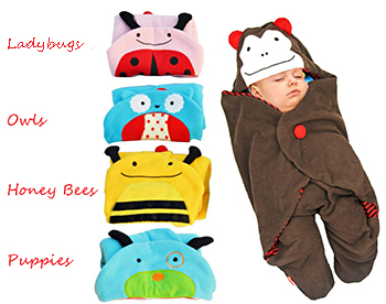 Colorful ladybug honeybee puppy dog owl monkey baby sleeping bags with sleeves for baby boy or girl