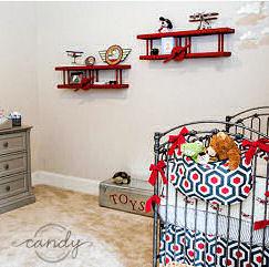 Snoopy Red Baron airplane baby boy nursery decor