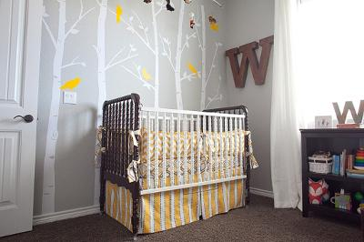 William's gray yellow and white forest animals nursery theme is a tranquil lighthearted space filled with enchanting woodland creatures