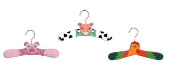 Farm animal theme baby clothes and coat hanger collection including a little red rooster a pig and a black and white cow