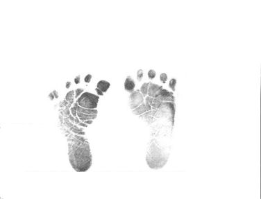 Baby footprints pictures images stamped in black ink