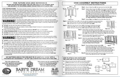 GXCCPNCN Baby's Dream Generation Next Crib Instructions Manual and Parts List