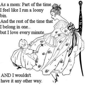 A new mother and baby in a vintage scene with a quote.