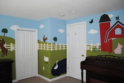 Pig Barnyard Farm Theme Nursery Wall Mural