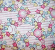 hot pink girls baseball softball cotton flannel quilt fabric flowers