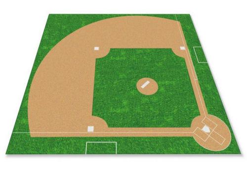 kids infield baseball field area room nursery rug