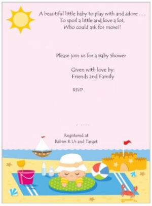 Beach toys theme baby shower invitation in bright colors with a sand castle, sea creatures and a sailboat sailing on the ocean