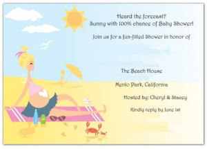Beach theme baby shower invitation in blue and yellow with pregnant mom on the beach in a bikini with sunshine sea creatures and the ocean
