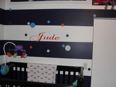 Jude's Blue Striped Beatles Themed Nursery w Black and White Painted Horizontal Stripes on the Walls
