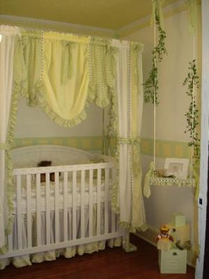 Yellow, White and Green Gingham Checks Nursery Bedding Pictures