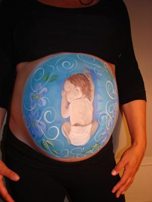 Sweet Pregnant Tummy Painting