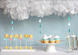 DIY Crafts umbrella baby shower with tissue paper cloud and raindrops mobile decorations