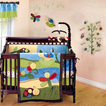 A colorful baby nursery decorated with dragonflies and bumblebees that is cute as a bug